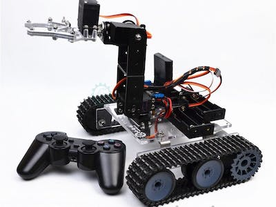 RC Arduino tank with 4dof robto arm PS2 control