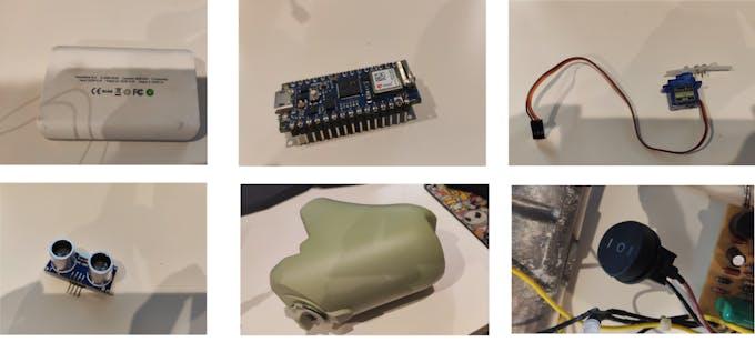 A battery, an Arduino module, a servo, an ultrasonic sensor, a water tank and a switch.