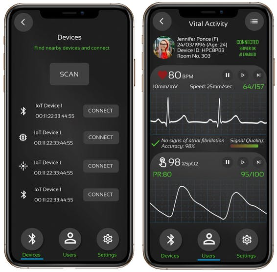 Devices scan and vital signs in the app.