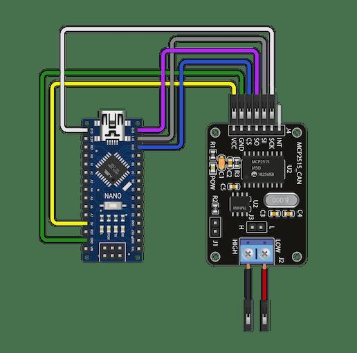 Figure 5 – Arduino Nano and the MCP2515 CAN bus shield