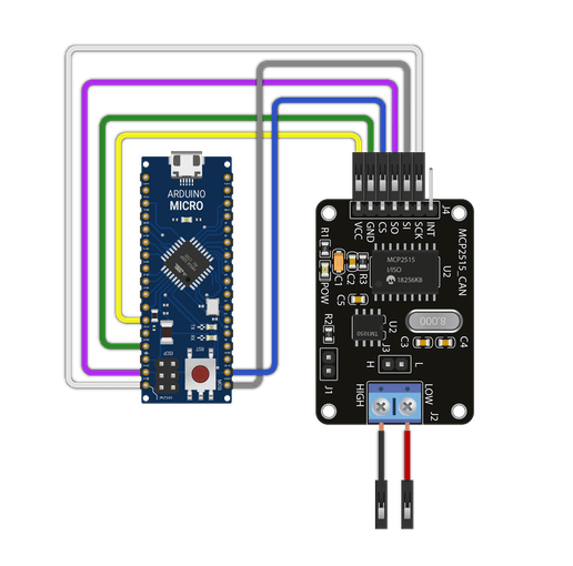 Figure 6 – Arduino Micro and the MCP2515 CAN Bus shield