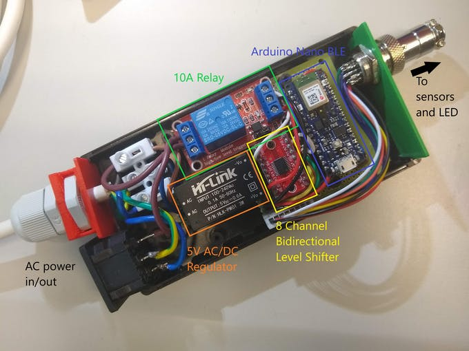 Components installed on a protoboard