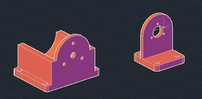 3D parts: base for motor & encoder.