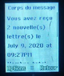 SMS notification on an old-school phone (in french)