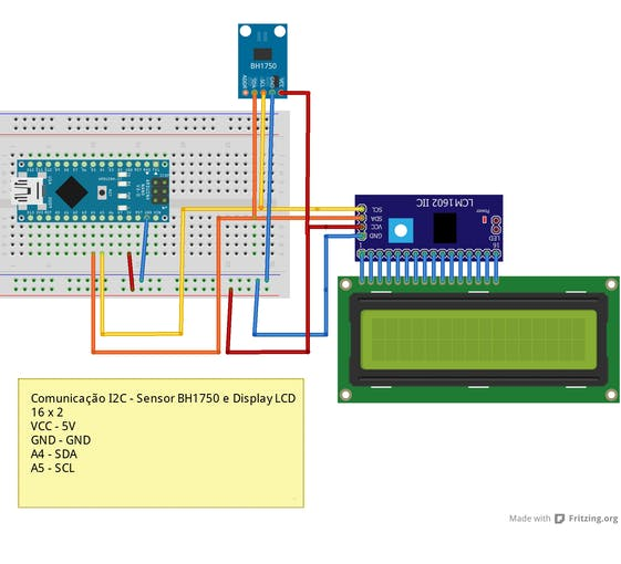 Figure 2 - Schematic circuit with the connections of the BH1750 sensor and the LCD display to the Arduino nano.