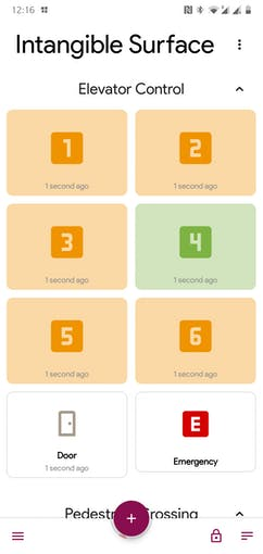 Smartphone Application (Elevator Control: Floor 4 Selected)