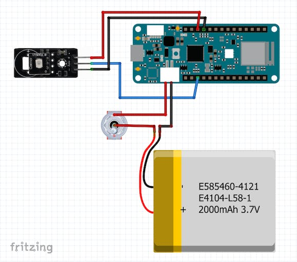 Connection of ARD2-2062 sensor module to Arduino MKR 1010 board