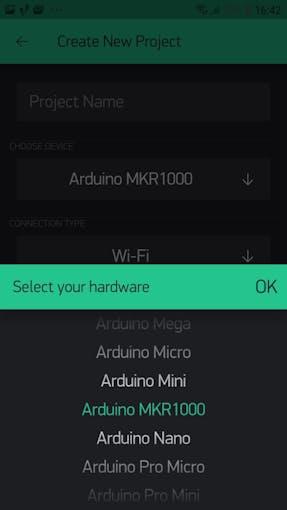 Blynk APP - Select Arduino MKR1000