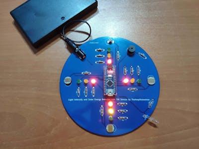 Light Intensity and Solar Energy Detector with Tilt Sensor