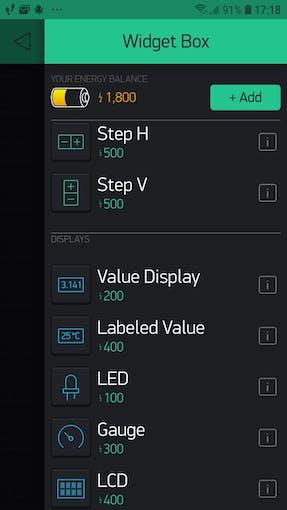 "Click on Widget ""Value Display"""