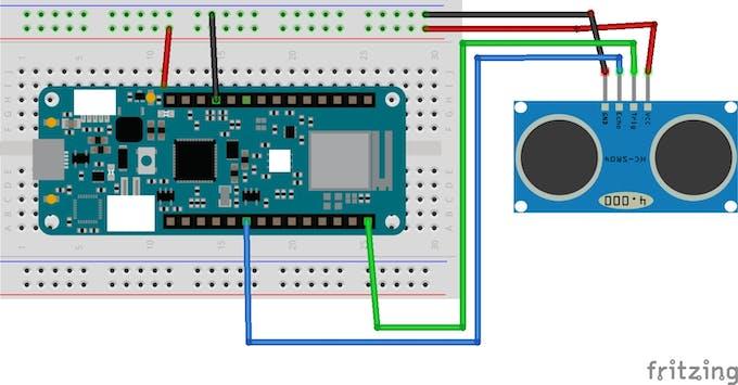 Ultrasonic sensor with MKR wifi 1010