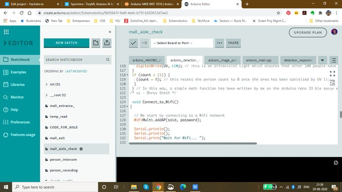 snip of the code
