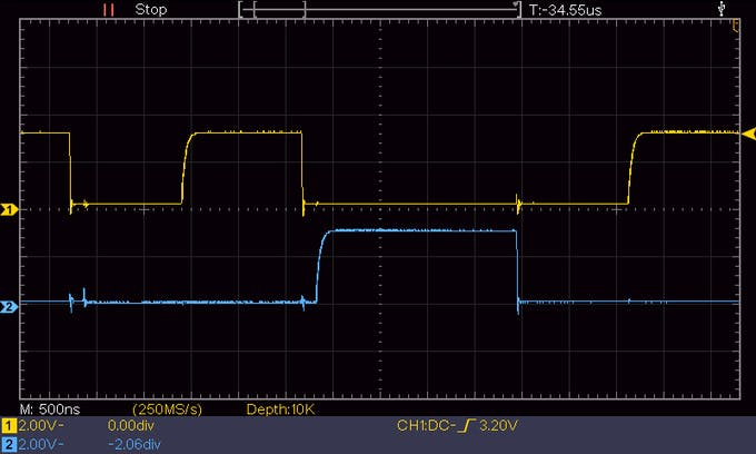 Test of the I2C bus signal (SCL yellow, SDA blue) quality and stability