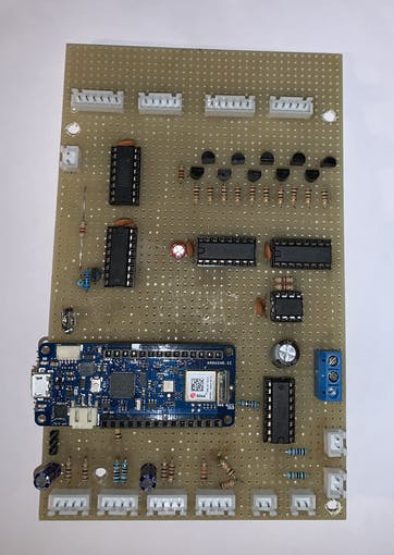 front side of the circuit board (with Arduino MKR 1010)