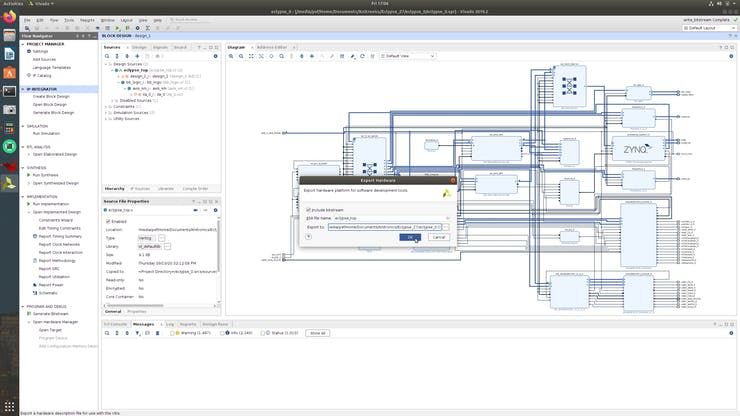 Export the new hardware platform to the existing Vitis workspace.