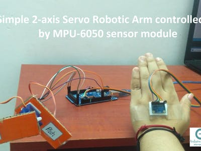 Simple 2-axis Servo Robotic Arm controlled by MPU-6050