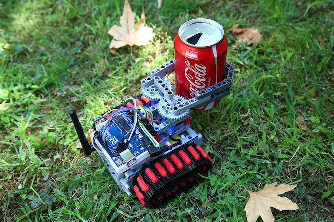 Fig. D - Rescue robot using its gripper to manipulate objects