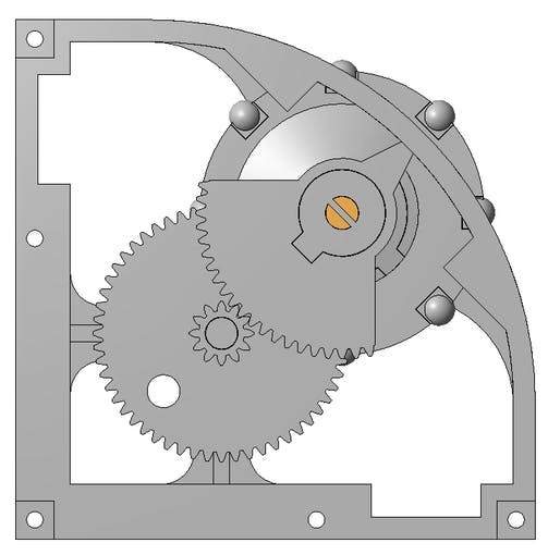 CAD view of the wheel assembly showing the neutral alignment position.