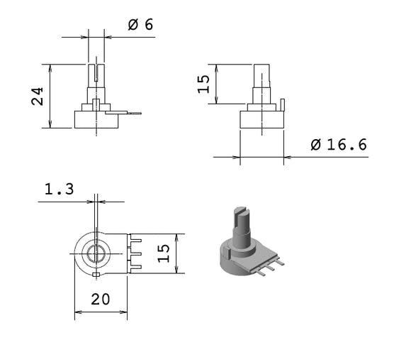 Drawing of the potentiometer used, bought off eBay so no manufacturers details are known
