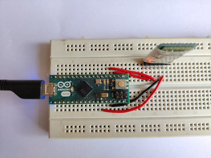 Arduino Micro connected to HC-05 module.
