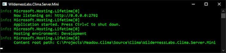 Clima Server running