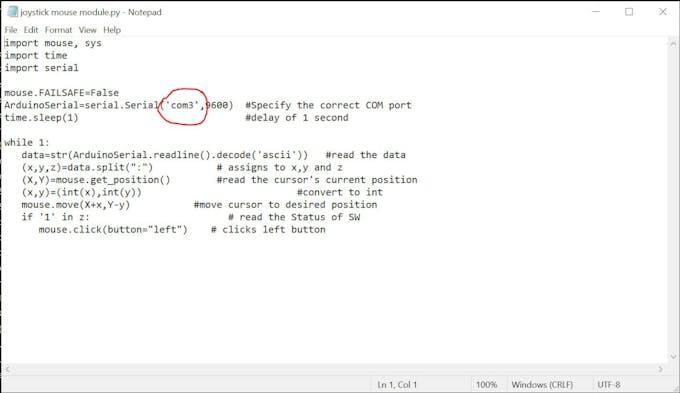 (Fig 2) Enter the correct COM port