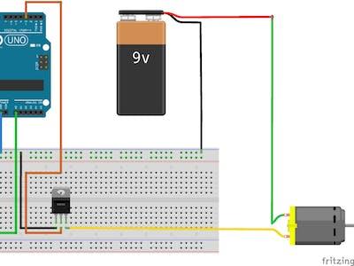 Control DC motor with NPN transistor & Arduino PWM