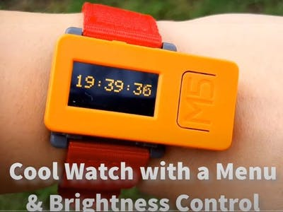 M5StickC Cool Looking Watch With a Menu and Brightness