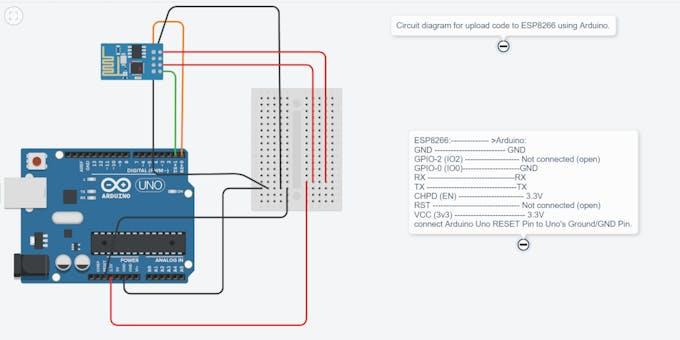Circuit diagram for upload code to ESP8266 using Arduino.