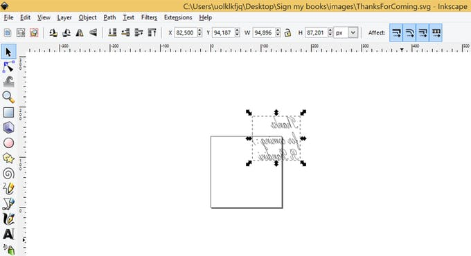 Inkscape with solid line font