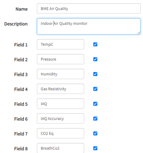 Sample Channel Settings for indoor air quality monitor.