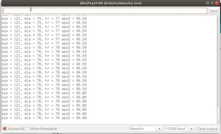 Algorithm data output on arduino serial terminal
