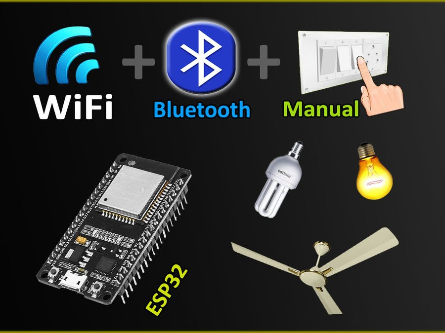 WiFi + Bluetooth + Manual Switch control 8 relays with ESP32