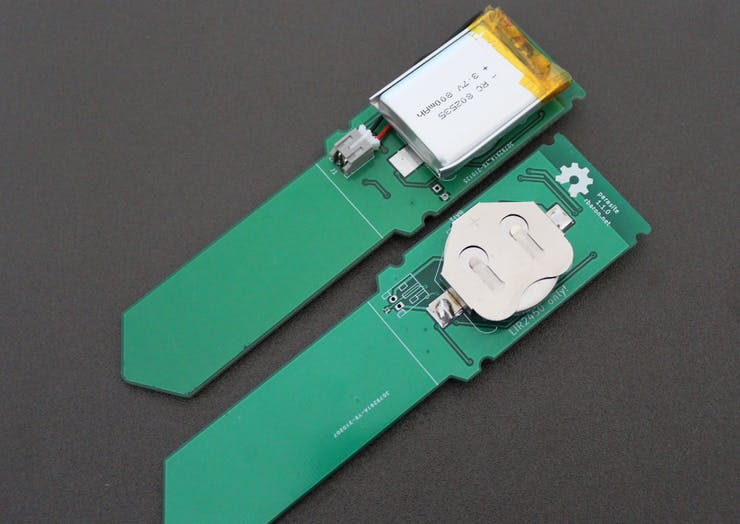 The board can be powered with the tiny LIR2450 cell or a conventional LiPo/Li-Ion battery