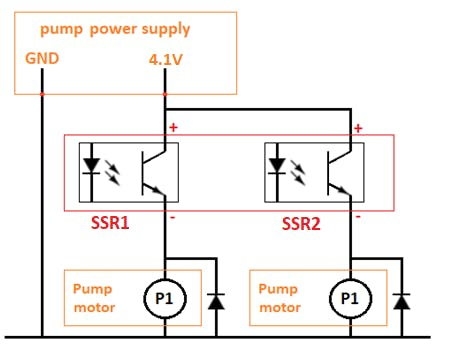 Basic setup of 2 pumps with DC motor and flywheel diode.