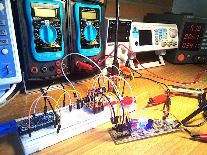 Testing the microcontroller with the circuit, Nano as programmer, FTDI as serial monitor