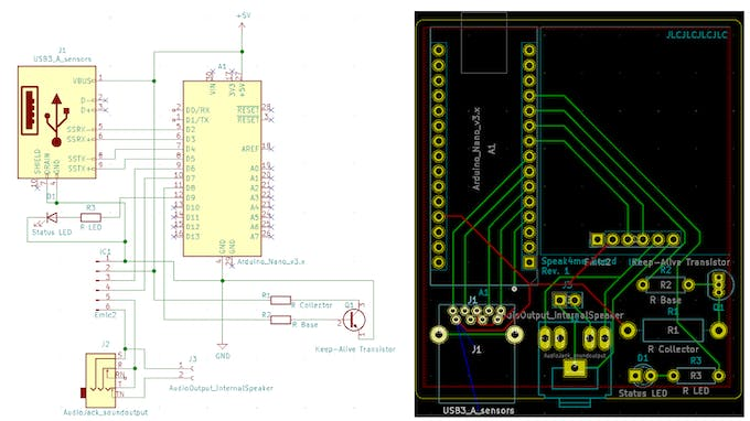 Figure 1: Circuit board (a) and resulting PCB Layout (b)
