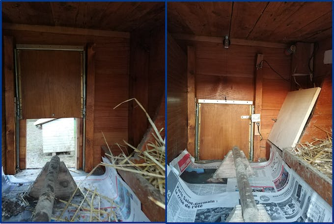 Door view from inside before/after implementing the system