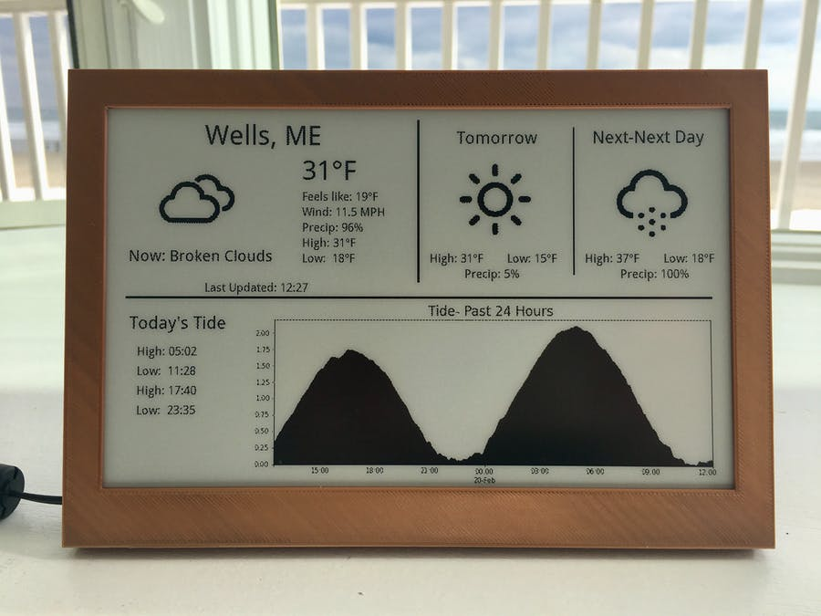 E-Ink Tide and Weather Tracker