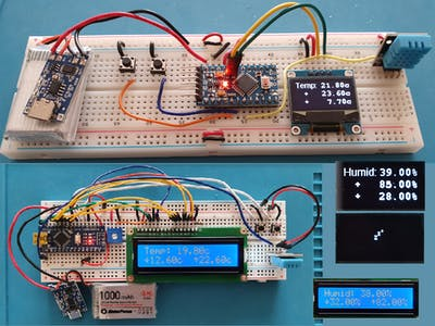 Very low power temp and humidity monitor with min and max