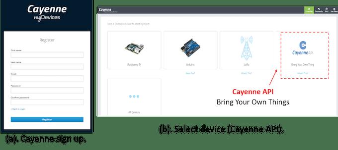 Fig. 5. Cayenne IoT Platform sign up (a). Cayenne API (b).