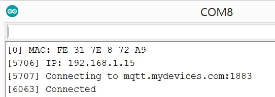 Fig. 7. Cayenne log prints on Serial Monitor.
