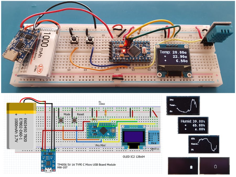 Temp and Humidity Monitor with Graphs and Battery Monitor