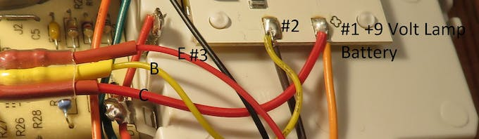 Close up of the transistor wires connected to the lamp module