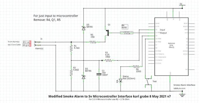Arduino Interface for Modified Smoke Alarm