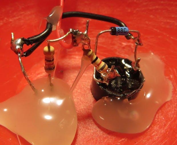 Buzzer module wiring close up