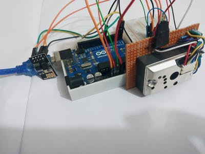 Long term dust monitoring using GP2Y1014AU0F and Blynk
