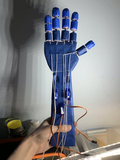Fingers attached to the palm and arm base. Strings are partially guided towards the servo motors.