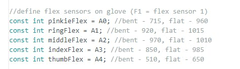 Keep track of values next to your flex sensor constants