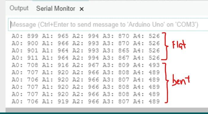 Serial Monitor output of flexTest() - Returns live feedback of the flex sensors